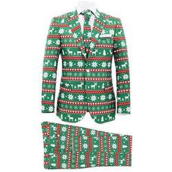 Świąteczny garnitur męski z krawatem, 2-częściowy, 56, zielony