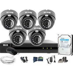 Monitoring Full HD BCS Basic Full HD 2MPx 1TB H265+ 5 x Kamera kopułkowa 2.8mm IR 30m