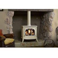 Kominki elektryczne, Średni kominek Ashdon, kolor - kość słoniowa - ekskluzywny kominek stojacy