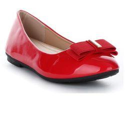 Klasyczne i Eleganckie Balerinki Damskie Bellucci Lakierowane z kokardką Czerwone