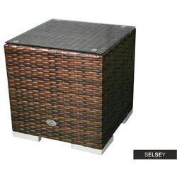 SELSEY Stolik ogrodowy Essara 40x40 cm ciemny brąz