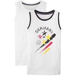 Top na szerokich ramiączkach Niemcy (2 szt.) bonprix biały z nadrukiem + biały