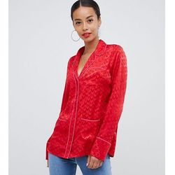 ASOS DESIGN Tall long sleeve shirt with pyjama styling in jacquard - Red
