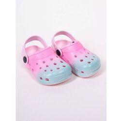 Klapki piankowe kroksy ogrodowe dziewczęce tęczowe różowo-niebieskie 32