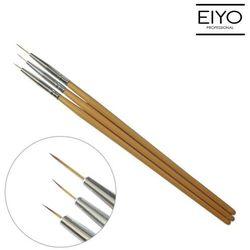 Zestaw 3 pędzelki do zdobienia paznokci z drewnianą rączką
