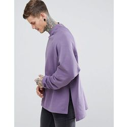 ASOS Super Longline Oversized Sweatshirt With Side Splits & Dropped Hem - Purple