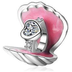 Rodowany srebrny charms do pandora otwarta muszla muszelka serce pierścionek srebro 925 BEAD88