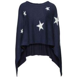 Poncho w gwiazdy bonprix ciemnoniebiesko-beżowy
