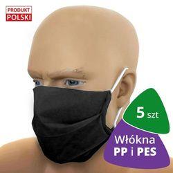 5x Profesjonalna maseczka ochronna CC150 BLACK włókna PP i PES
