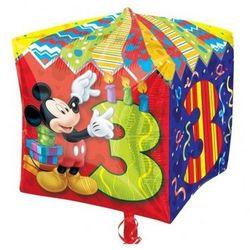 Balon foliowy Sześcian Myszka Mickey na 3 urodziny - 38 cm - 1 szt.