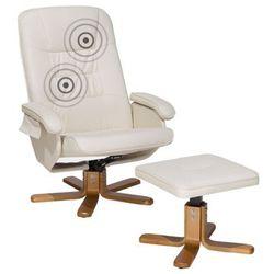Fotel beżowy skóra ekologiczna funkcja masażu z podnóżkiem RELAXPRO