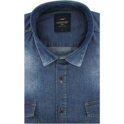 Koszula Męska Redpolo jeansowa gładka niebieska na długi rękaw w kroju SLIM FIT A288