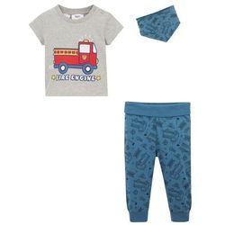 Koszulka niemowlęca + spodnie + chusta trójkątna (3 części), bawełna organiczna bonprix jasnoszary melanż + niebieski dżins