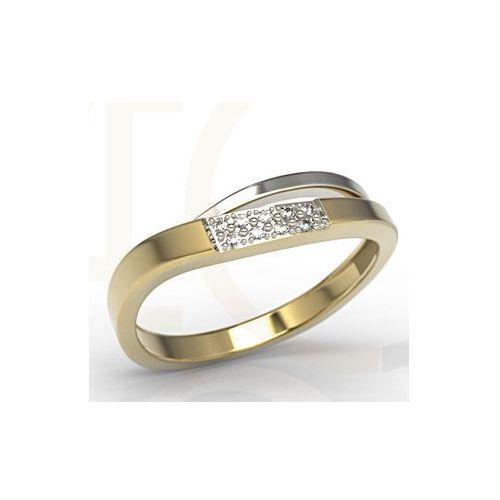 Pierścionki i obrączki, Pierścionek z białego i żółtego złota z diamentami LP-97ZB-R - Żółte i białe \ Diament