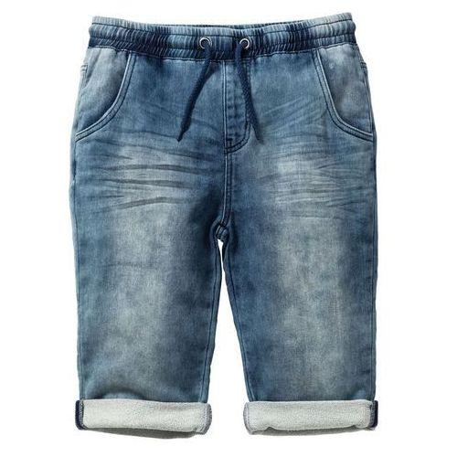 """Krótkie spodenki dziecięce, Bermudy dresowe w optyce dżinsowych bonprix niebieski """"stone"""""""