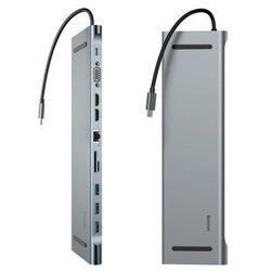 Baseus Enjoyment podstawka pod laptopa adapter HUB USB Typ C PD / VGA / HDMI / RJ45 / USB 3.0 / czytnik kart SD micro SD do MacBook / PC szary (CATSX-