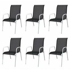 vidaXL Krzesła ogrodowe, sztaplowane, 6 szt., stal i Textilene, czarne