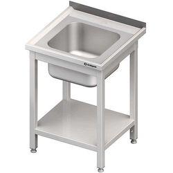 Stół ze zlewem jednokomorowym i półką, spawany 600x600x850 mm | STALGAST, 614066