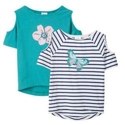 T-shirt z wycięciami na ramionach (2 szt.) bonprix niebieski w paski + zielony morski