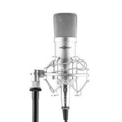 Mic-700 Mikrofon studyjny Ø 34 mm jednokierunkowy uchwyt/pająk mikrofonowy osłona przed wiatrem XLR srebrny