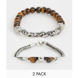 ASOS DESIGN beaded bracelet 2 pack with semi precious stones and chain - Brown