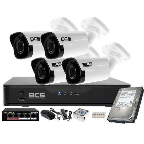 Kamery przemysłowe, Monitoring IP BCS Point Rejestrator z 4 Kamerami FullHD + Akcesoria