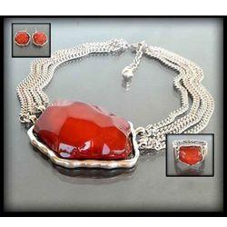 Komplet biżuterii z dużym czerwonym kamieniem: naszyjnik, bransoletka i kolczyki - czerwony