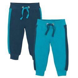 Spodnie dresowe niemowlęce (2 pary), bawełna organiczna bonprix ciemnoniebiesko-ciemnoturkusowy