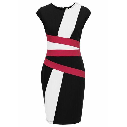 Suknie i sukienki, Sukienka ołówkowa z kontrastowymi wstawkami bonprix biało-czarno-jeżynowy