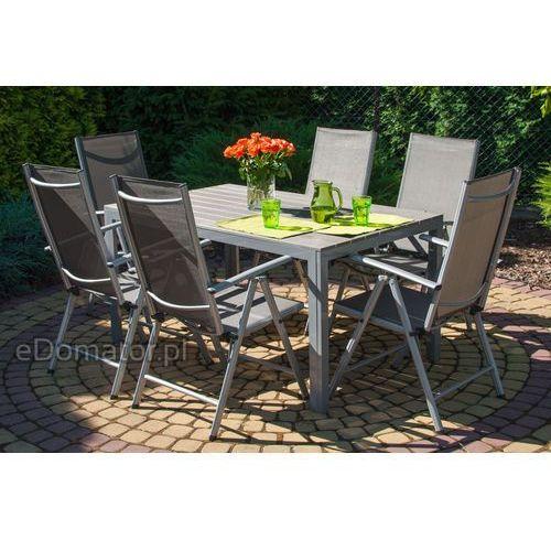 Zestawy ogrodowe, Meble ogrodowe składane aluminiowe MODENA Stół i 6 krzeseł - Srebrny - srebrny