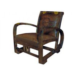 Fotel z postarzanej skóry TRAVEL - Brązowy