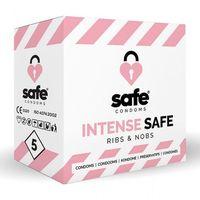 Prezerwatywy, Prezerwatywy stymulujące - Safe Intense Safe Condoms Rib-Nop 5szt
