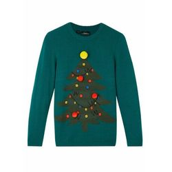 Sweter chłopięcy z bożonarodzeniowym motywem bonprix głęboki zielony