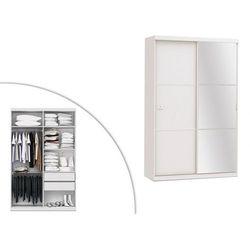 Szafa z lustrem PEGGY - Podwójne drzwi przesuwne - dł.144 cm - Kolor: biały