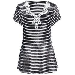 Shirt z długim rękawem i plisą guzikową (2 szt.) bonprix kobaltowo-biały + kobaltowy