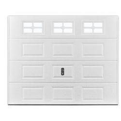 Brama garażowa segmentowa z kasetonami SPEOS biała z okienkami
