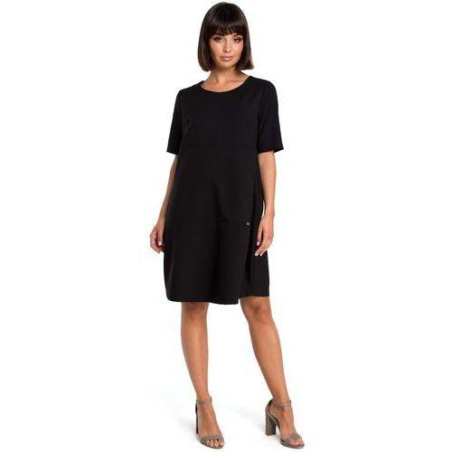 Suknie i sukienki, Czarna Casualowa Sukienka Bombka przed Kolano