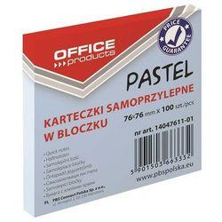 Bloczek samoprzylepny OFFICE PRODUCTS, 76x76mm, 1x100 kart., pastel, niebieski