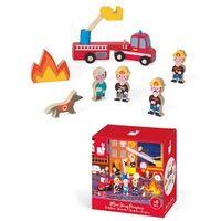 Zabawki z drewna, Zestaw drewniany 8 elementów - Strażacy - Kolekcja Story - Janod