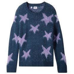 Sweter z dzianiny z długim włosem bonprix ciemnoniebiesko-kolor bzu