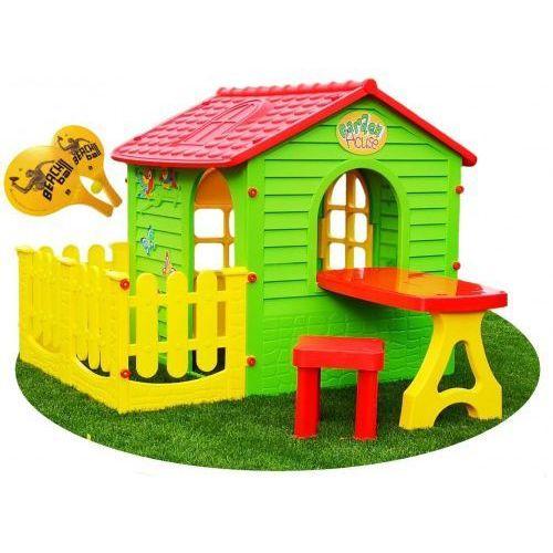 Pozostałe zabawki, Domek dla dzieci plastikowy ze stolikiem i płotkiem + GRATIS Rakietki plażowe