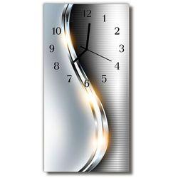 Zegar Szklany Pionowy Nowoczesny Metal metalowy srebrny