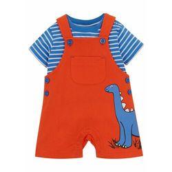 Shirt niemowlęcy + spodnie dresowe (2 części), bawełna organiczna bonprix pomarańczowo-niebiesko-biały w paski