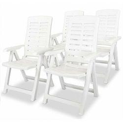 vidaXL Krzesła ogrodowe rozkładane, 4 szt., plastikowe, białe