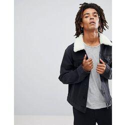 ASOS Denim Jacket with Borg Collar in Washed Black - Black