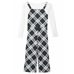 Shirt + kombinezon dziewczęcy (2 części) bonprix biel wełny - czarny