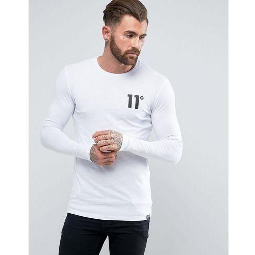 Koszulki z długim rękawem, 11 Degrees Long Sleeve T-Shirt In White With Logo - White