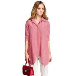 Luźna koszula damska z asymetrycznym przodem w krateczkę czerwona S106