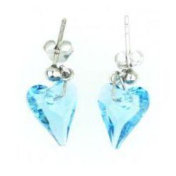 Kolczyki Serce, Swarovski Crystal, błękit