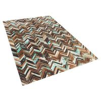 Dywany, Dywan - brązowo - beżowo - niebieski - skóra - 140x200 cm - AMASYA